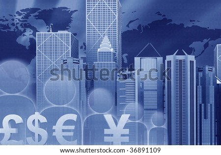 Finance illustration with a business city landscape and currency symbols - stock photo