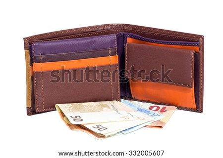 finance, investment, saving and cash concept - close up of euro paper money and wallet isolated on white - stock photo
