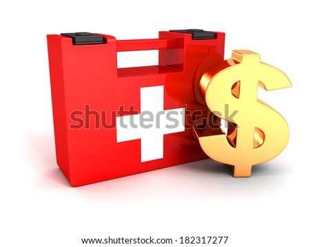 finance money help concept with golden dollar symbol and red first aid medical kit box on white background - stock photo