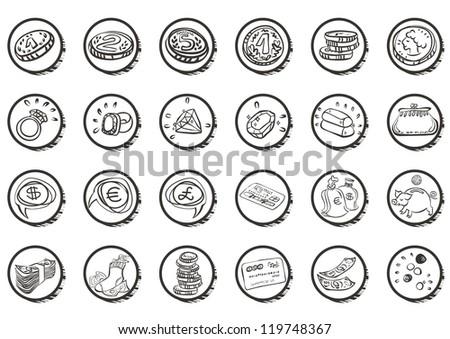 finance money jewelry white icon set raster version - stock photo
