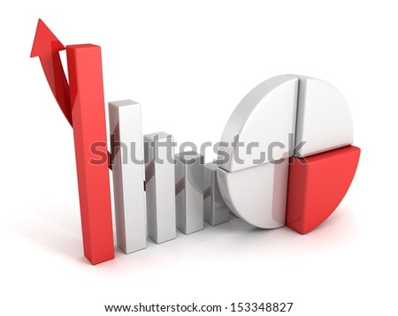 finance pie and bar chart graphs with growing arrow - stock photo