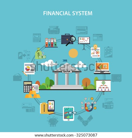 Finance system concept with bank and investment flat icons  illustration - stock photo