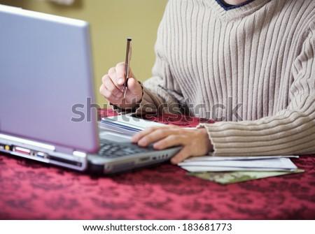 Finances: Man Writing Checks While Online - stock photo