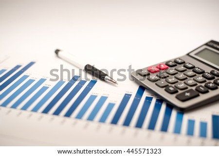 financial accounting concept with graphs and charts - stock photo