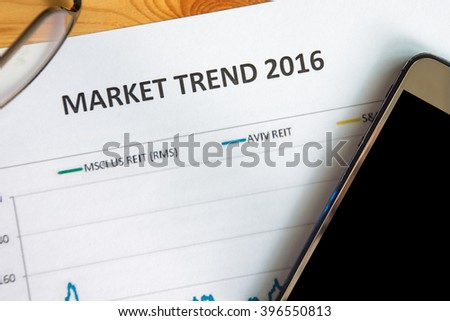 Financial accounting market trend 2016 graphs analysis - stock photo