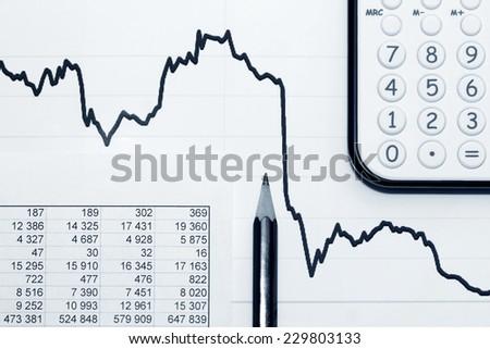 Financial accounting stock market graphs and charts analysis  - stock photo