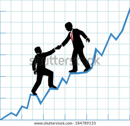Financial adviser or business mentor help team partner up to company profit growth - stock photo