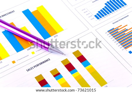 Financial Analysis with graphs and data of industrial growth. - stock photo
