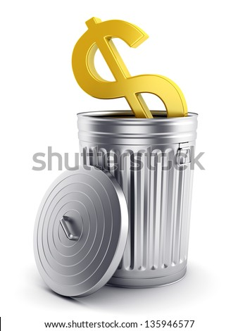 Financial and business crisis concept. Golden dollar symbol in steel trash can with lid isolated on white. - stock photo
