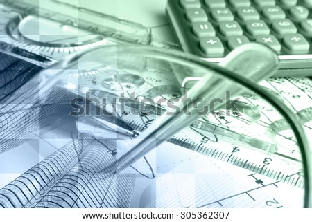 Financial background in greens and blues with buildings, ruler, calculator and graph. - stock photo