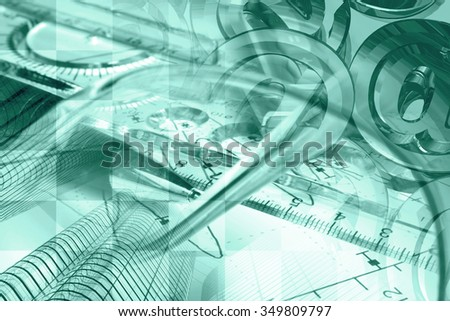 Financial background in greens with buildings, glasses, mail signs and pen. - stock photo
