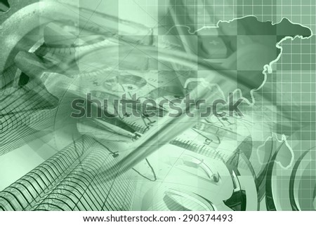 Financial background in greens with map, calculator, graph and pen. - stock photo