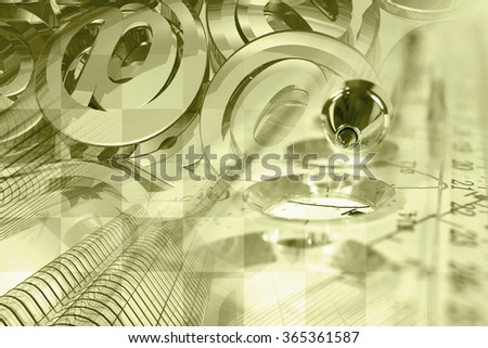 Financial background in sepia with mail signs, building, graph and pen. - stock photo