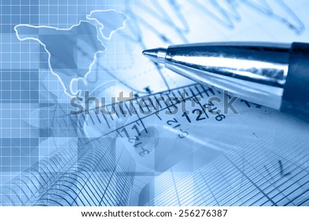 Financial background with map, buildings, graph and pen, blue toned. - stock photo
