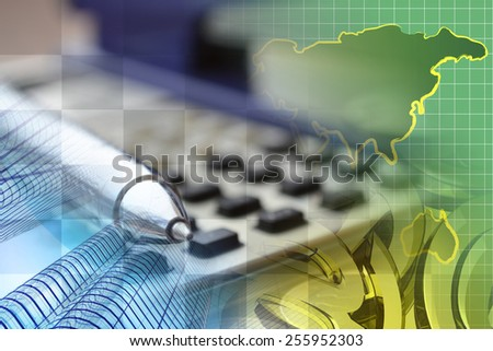 Financial background with map, calculator, buildings and pen. - stock photo