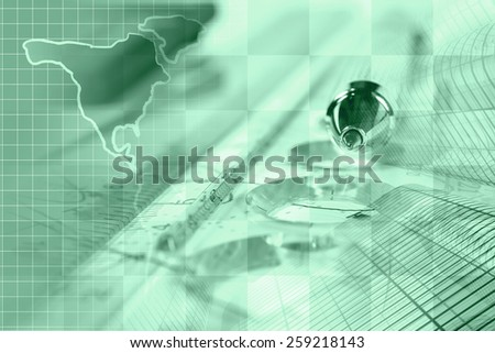 Financial background with map, ruler, buildings, graph and pen, green tone. - stock photo
