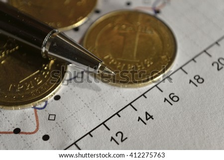 Financial background with money, calculator, graph and pen. - stock photo