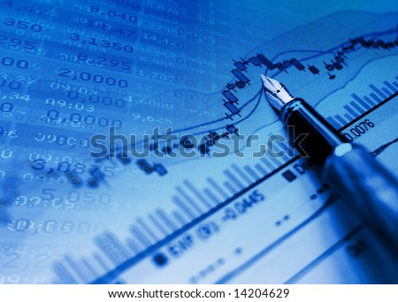 financial blue chart stat background - stock photo