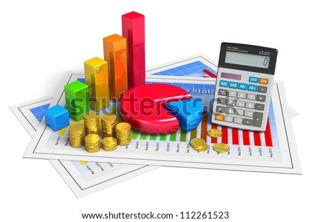 Financial business, analytics, banking and accounting concept: pie chart, bar graph, golden coins and office calculator on successful economical reports isolated on white background - stock photo