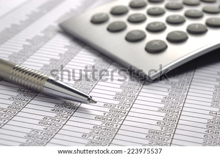 financial business calculation with calculator - stock photo