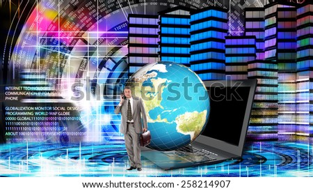 Financial business.Globalization Internet technology - stock photo