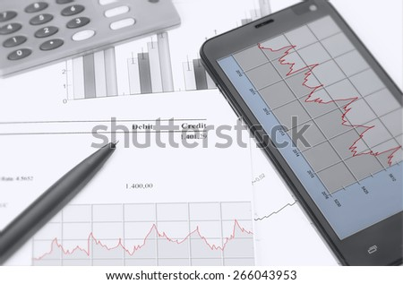 financial chart analysis, rate calculation - stock photo