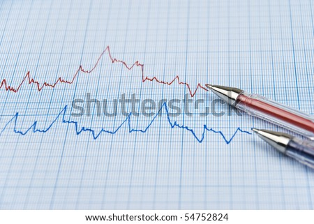Financial chart shows  a graph in two colors red and blue with two pens made on millimeter paper - stock photo