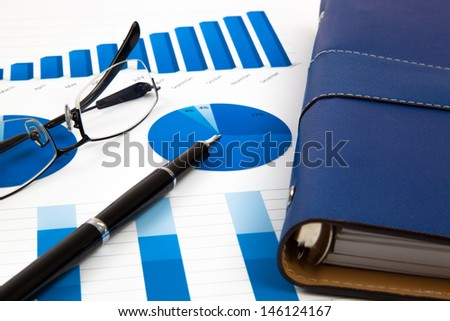 financial charts and graphs - stock photo