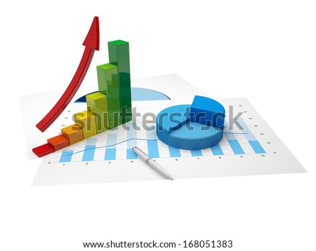 Financial charts and statistics on paper with up arrow - stock photo