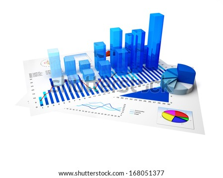 Financial charts and statistics on paper with white background - stock photo