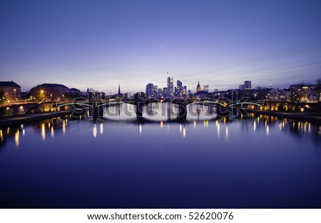 Financial city in the dusk - stock photo