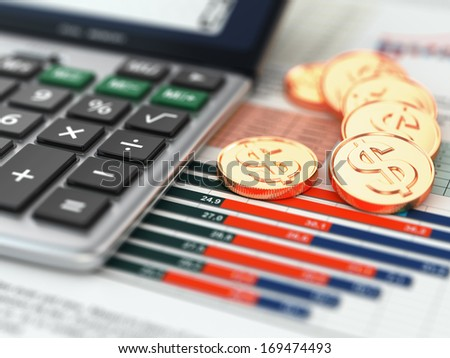 Financial concept.  Calculator, coins and graph. 3d - stock photo