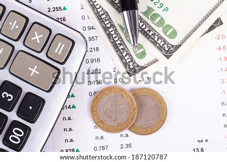 Financial concept, chart graphs, coins and calculator on business table, top view. - stock photo