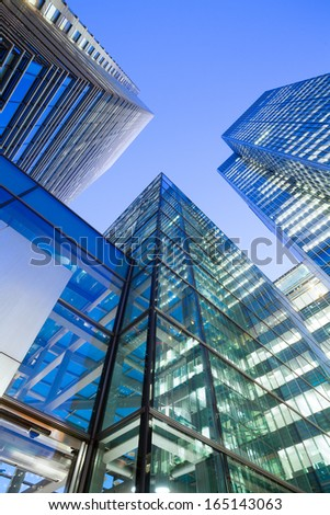 Financial Corporate building Skyscrapers center in the Canary Wharf, City of London  - stock photo