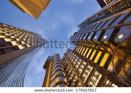 Financial Corporate Skyscraper office building in Canary Wharf, London City, England, UK  - stock photo
