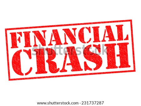 FINANCIAL CRASH red Rubber Stamp over a white background. - stock photo