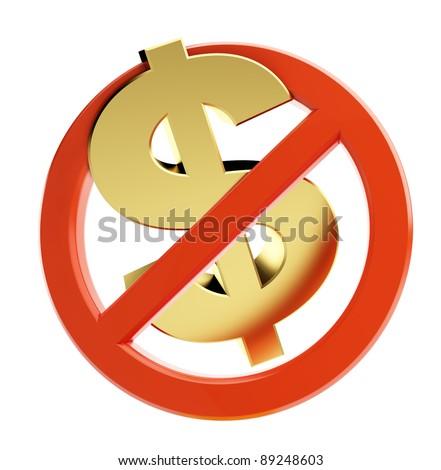 financial crisis dollar on a white background - stock photo