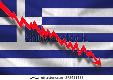 Financial crisis in Greece, illustration of zigzag red arrow down on flag - stock photo