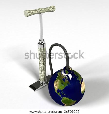 Financial Crisis - pump dollar - stock photo