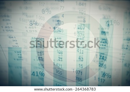 Financial data background. Corporate earnings(diagram, spreadsheet, etc). Multiple exposure. - stock photo