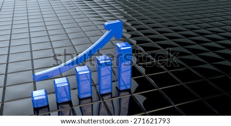 Financial data in form of charts as blue columns with arrow - stock photo
