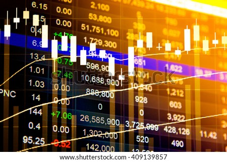 Financial data on a monitor. Business statistics and analytics, glowing sheet beznes statistics of exchange trading in the dark - stock photo