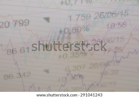 Financial data on a monitor. Multiple exposure. - stock photo