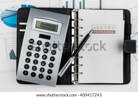 Financial diary and pen lying in the diagram - stock photo