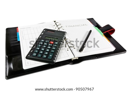 financial diary with clipping path and pen - stock photo
