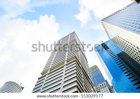 Financial district in Singapore in the sunshine day - stock photo