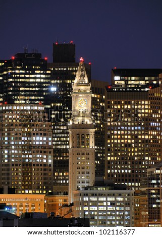 Financial District of Boston, Massachusetts with the prominent Custom House Tower. - stock photo