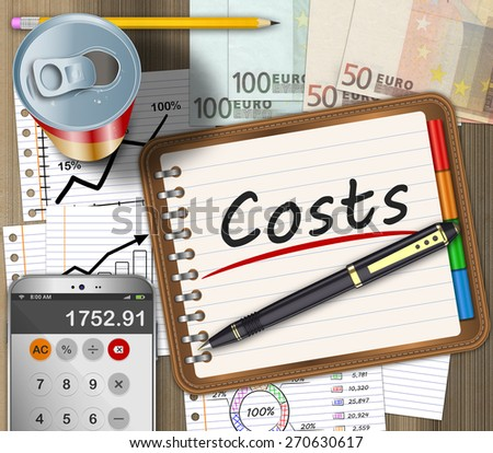 Financial expenses as a concept on an office desk - stock photo