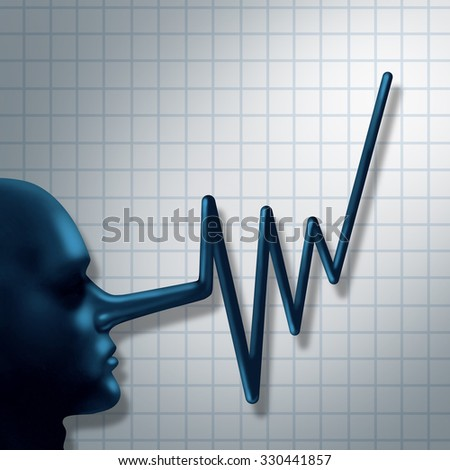Financial fraud and false financial reporting crime concept as a ceo business person symbol with a long nose shaped as a financial graph chart arrow as a symbol for finance corruption. - stock photo