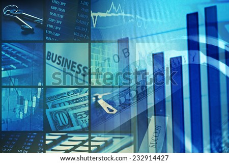 Financial graph on a monitor - stock photo